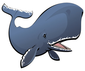 A cartoon sperm whale. Toothed whale.
