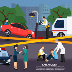 Car Accident Flat Style Illustration