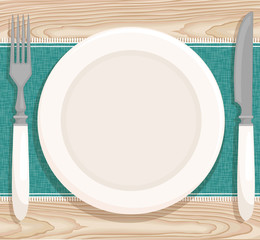 Table setting for dinner. Vector illustration with a plate, knife, fork, tablecloth on wooden table. Top view.