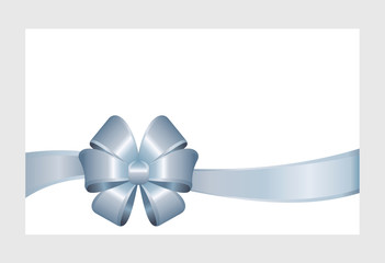 Gift Card With Blue Ribbon And A Bow on white background.  Gift Voucher Template.  Vector image.