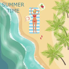 Vacation in tropical countries. Summer beach landscape. Top view vector illustration eps 10.