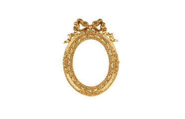 Old, golden, round frame, baroque, on white isolated background
