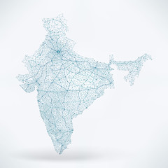 Fototapete - Abstract Telecommunication Network Map - India
