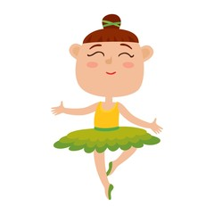 Vector cartoon illustration of happy little girl dancer, ballerina.