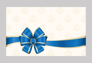 Gift certificate, Gift Card With Blue Ribbon And A Bow on  Decorative Elements  background.  Gift Voucher Template.  Vector image.