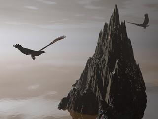 eagle and fantastic sunset - 3d render