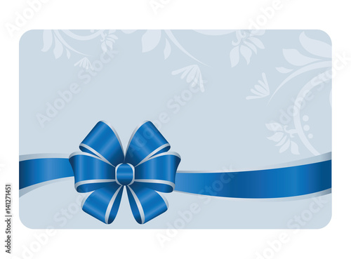 Gift certificate gift card with blue ribbon and a bow on blue gift certificate gift card with blue ribbon and a bow on blue decorative elements background yadclub Image collections