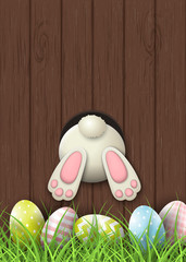 Easter motive, bunny bottom and easter eggs in fresh grass on brown wooden background, illustration