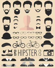 Vector set of dress up constructor with different men hipster haircuts, glasses, beard etc. App man faces icon creator.