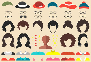Vector set of dress up constructor with differen twoman haircuts, glasses etc. in flat style. Female faces icon creator.