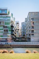 Immeubles près des Jardins Aquatiques dans le quartier de Confluence à Lyon