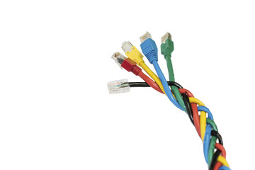 Isolated multi colored ethernet cables braided in spikelet, white background.