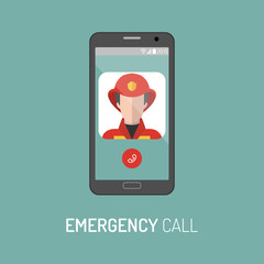 Vector illustration of emergency police call with policeman icon on mobile telephone in trendy flat style.