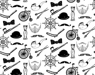 Vector hipster seamless pattern in trendy hand sketched style.