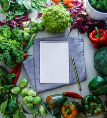 Notebook with vegetables