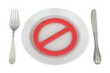 Plate with forbidden symbol, 3D rendering