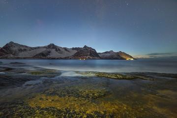 Night view to Steinfjord on Senja island (Oksan on background) - Norway