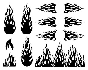Fire flame design elements collection