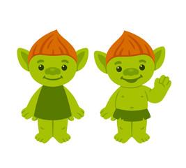 Cute cartoon troll couple