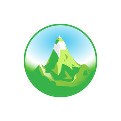 Emblem of Green Snowy Mountain