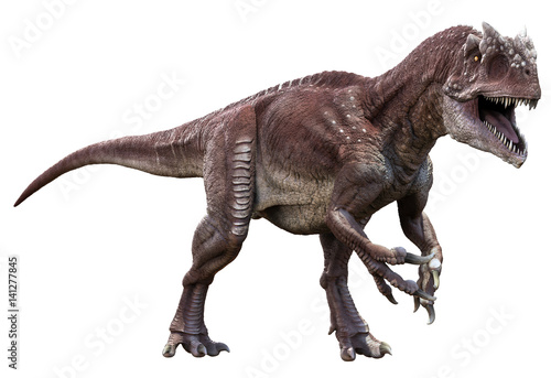 3D rendering of Allosaurus walking to viewer, isolated on white background.