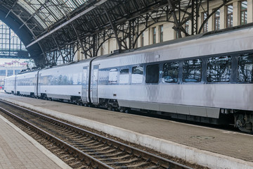 Modern fast train stands at the railway station