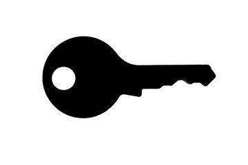 Illustration silhouette key isolated on white as symbol for security