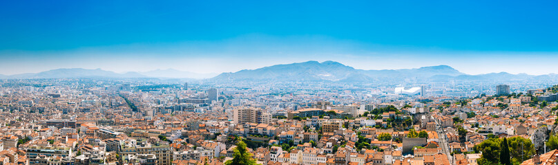 Urban panorama, aerial view, cityscape of Marseille, France. Sunny