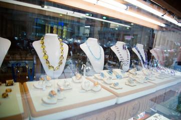 Jewelry in showcase