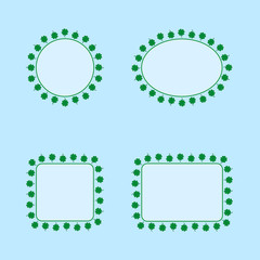 Set of geometric frames with green four-leaf clovers