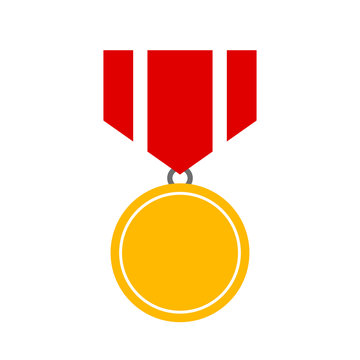 Gold medal prize vector icon