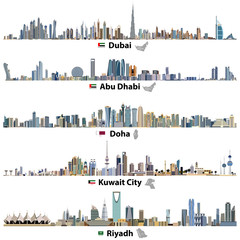 Dubai, Abu Dhabi, Doha, Riyadh and Kuwait city skylines with flags and maps of United Arab Emirates, Qatar, Kuwait and Saudi Arabia