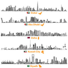 abstract vector illustrations of Dubai, Abu Dhabi, Doha, Riyadh and Kuwait city skylines in black and white color palette with flags and maps of United Arab Emirates, Qatar, Kuwait and Saudi Arabia