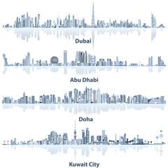 vector illustrations of Dubai, Abu Dhabi, Doha and Kuwait city skylines