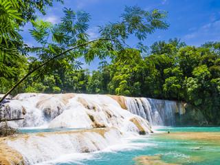 Agua Azul waterfalls in the lush rainforest of Chiapas, Mexico