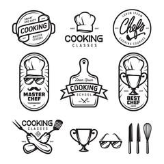 Cooking classes labels set. Vector vintage illustration.