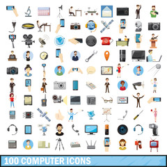 100 computer icons set, cartoon style