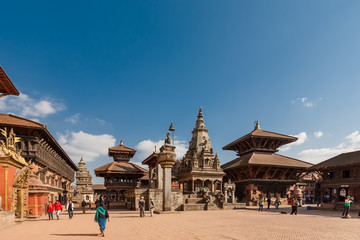 Fotorollo Nepal November 25, 2013 - exterior of ancient city Bhaktapur, Nepal