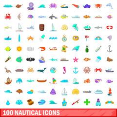 100 nautical icons set, cartoon style