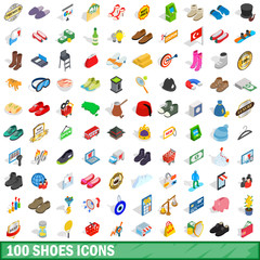 100 shoes icons set, isometric 3d style