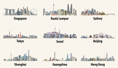 vector illustrations of Singapore, Kuala Lumpur, Sydney, Tokyo, Seoul, Beijing, Shanghai, Guangzhou and Hong Kong skylines