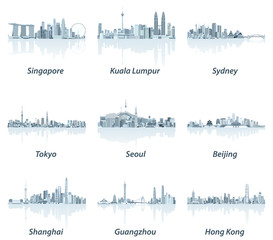 Fototapete - vector illustrations of Singapore, Kuala Lumpur, Sydney, Tokyo, Seoul, Beijing, Shanghai, Guangzhou and Hong Kong skylines