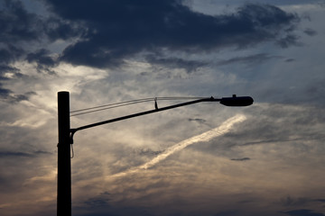 Street light silhouette against a beautiful sunset.