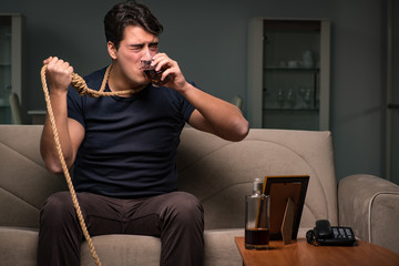 Desperate man thinking of suicide