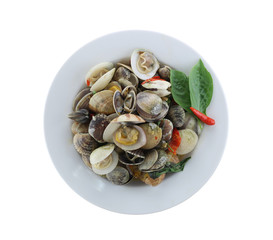 sea clams or RIDGED VENUS CLAM of Stir sauce in white dish isolated on white background.