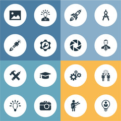 Vector Illustration Set Of Simple Creative Thinking Icons. Elements Business Discussion, Hobby, Zoom And Other Synonyms Brain, Wrench And Gear.
