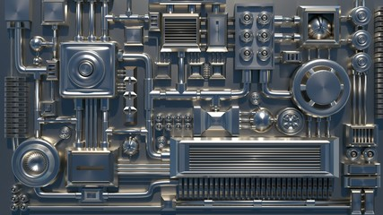 Metal electronic parts and details texture. 3D render.