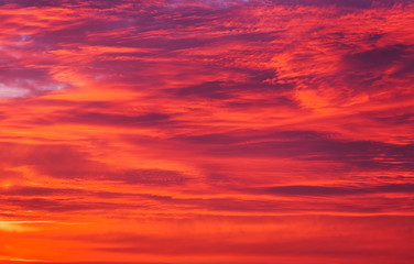 Photo sur Toile Rouge Beautiful fiery orange sky during sunset or sunrise.