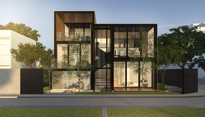 3d rendering black loft modern house in summer