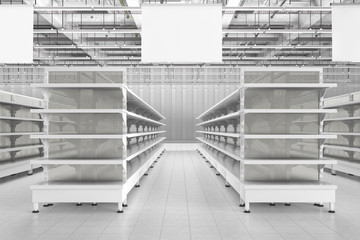 Store interior with empty supermarket shelves